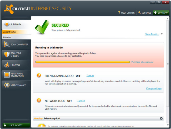 Large screenshot for Avast Internet Security.