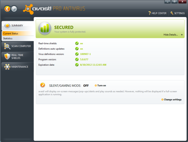 Large screenshot for Avast Pro Antivirus.