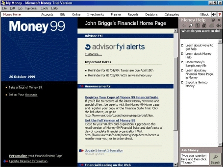 Large screenshot for Microsoft Money 99 Financial Suite.