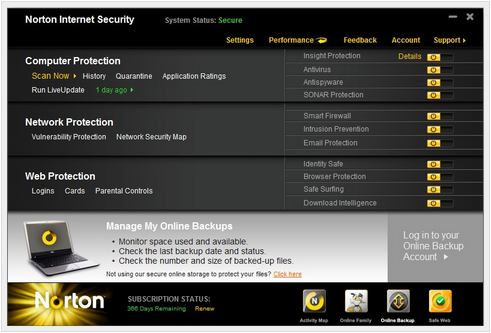 Large screenshot for Norton Internet Security.