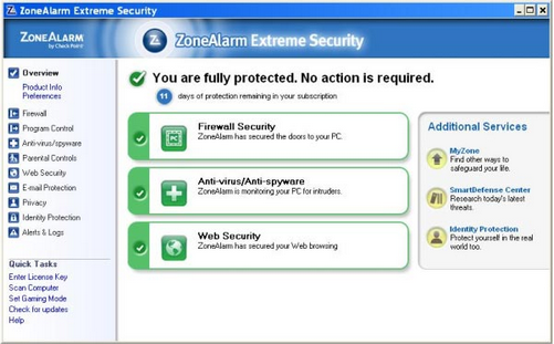 Large screenshot for ZoneAlarm Extreme Security .
